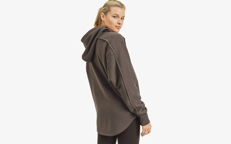 cozy zip up hooded shirt tail jacket